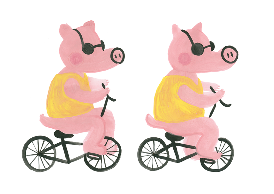 Vykort - Pigs on bikes