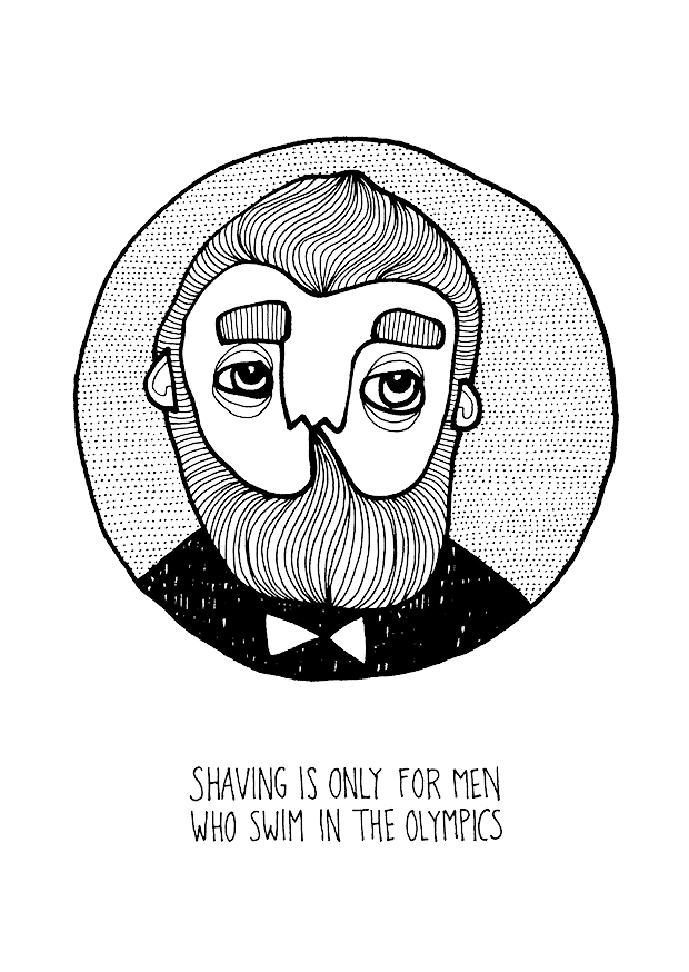 Vykort - Shaving is only for men who...