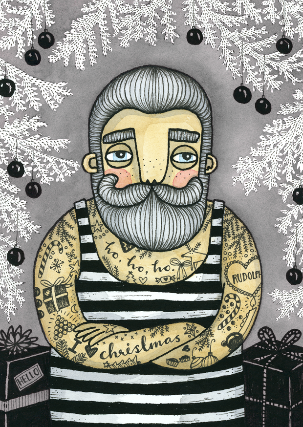 Vykort - Tattooed santa, GREY