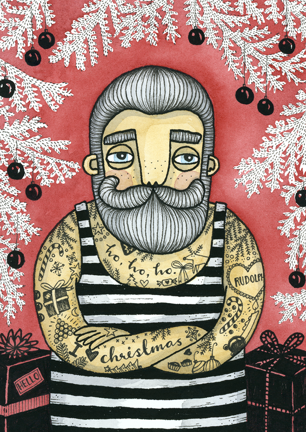 Vykort - Tattooed santa, RED