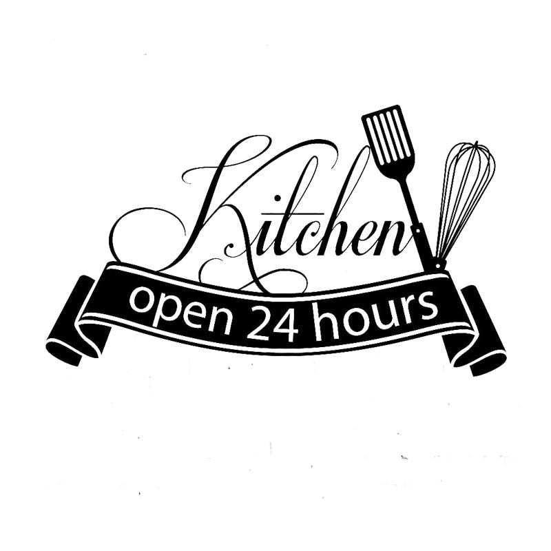 Cuisine Wall Sticker Open 24 Hours Kitchen Wall Decal