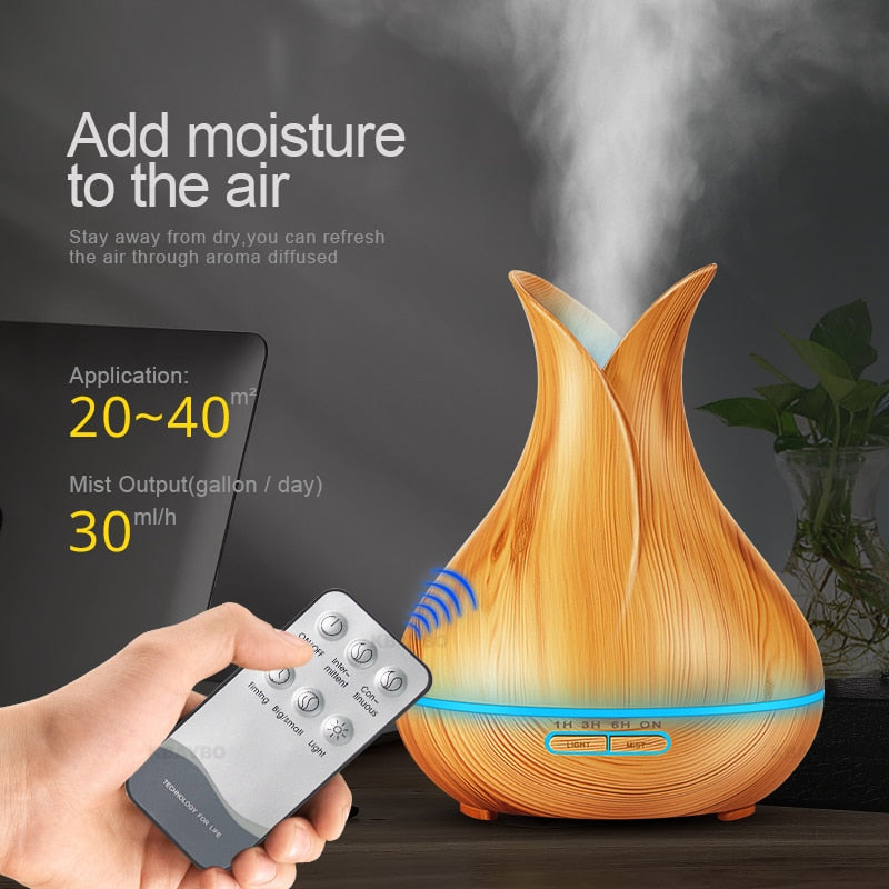 400 ml Air Humidifier Aroma Essential Oil Diffuser With Wood Grain 7 Color Changing LED Lights for Office Home