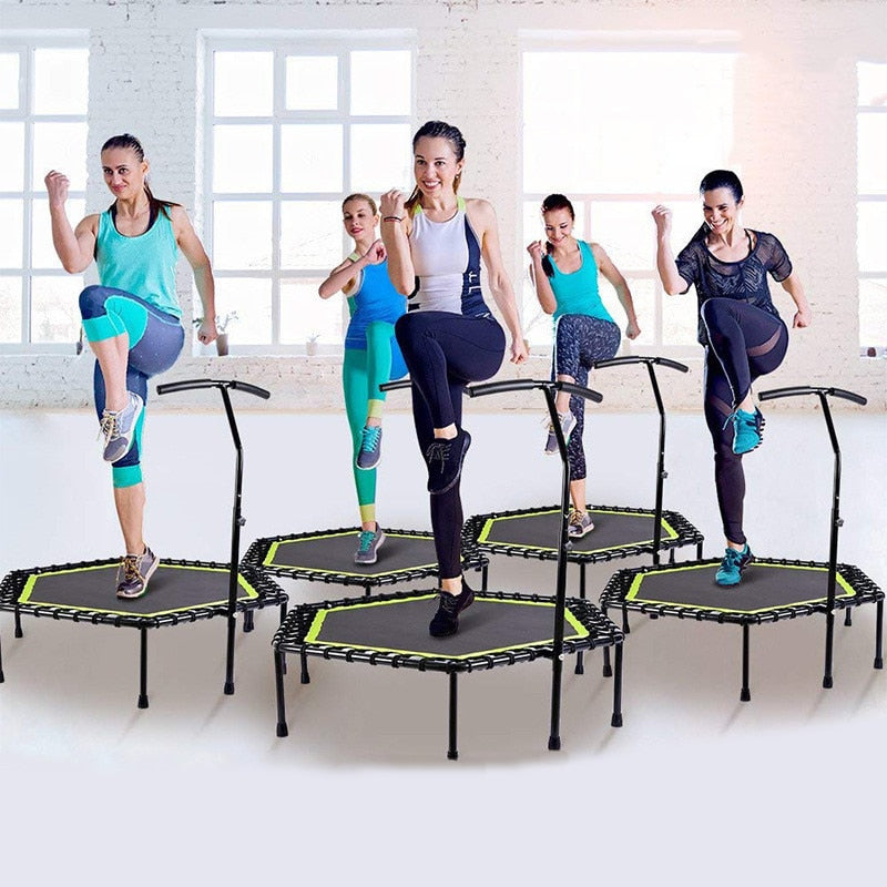 48 Inch Hexagonal Fitness Trampoline with Adjustable Handrail For Indoor Exercise