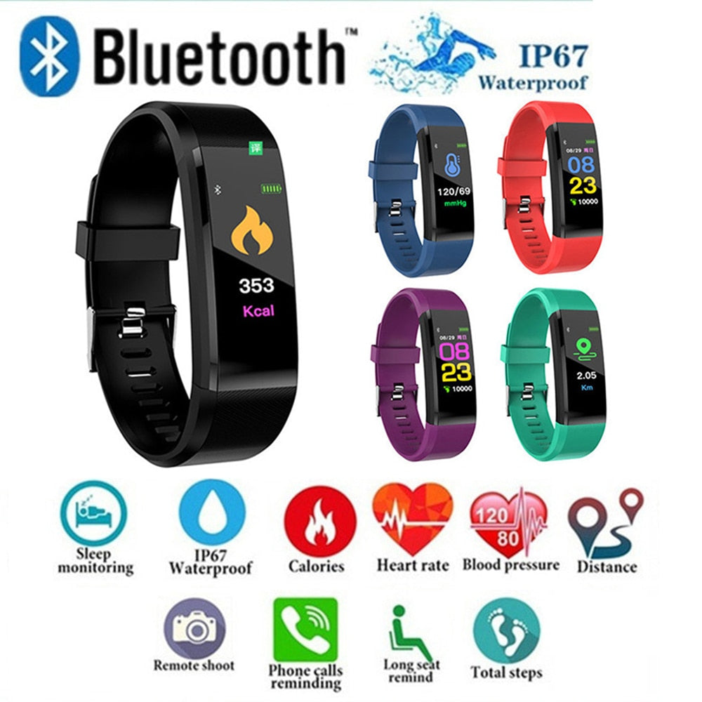 Fitness Bluetooth Tracker To Monitor Heart Rate (Waterproof)