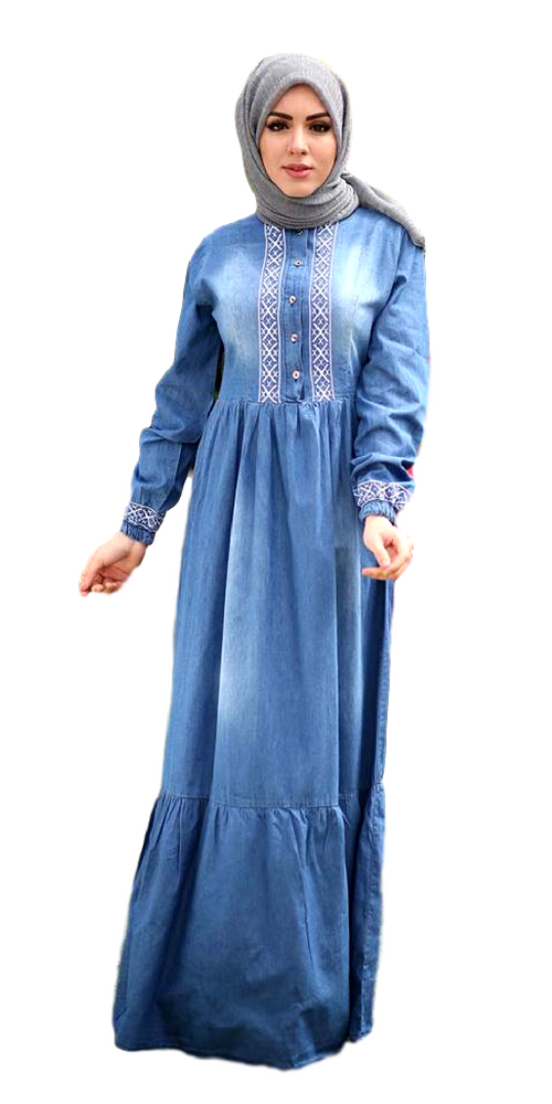 Women's Blue Denim Long Maxi Dress - Code 3613/3602