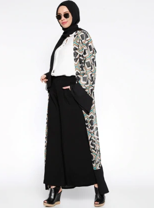 Black - Ecru - Multi - Unlined - Abaya-302064