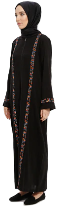 Black - Unlined - Crew neck - Abaya-643591