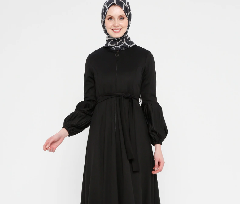 Black - Dress - Crew neck - Abaya-1076846