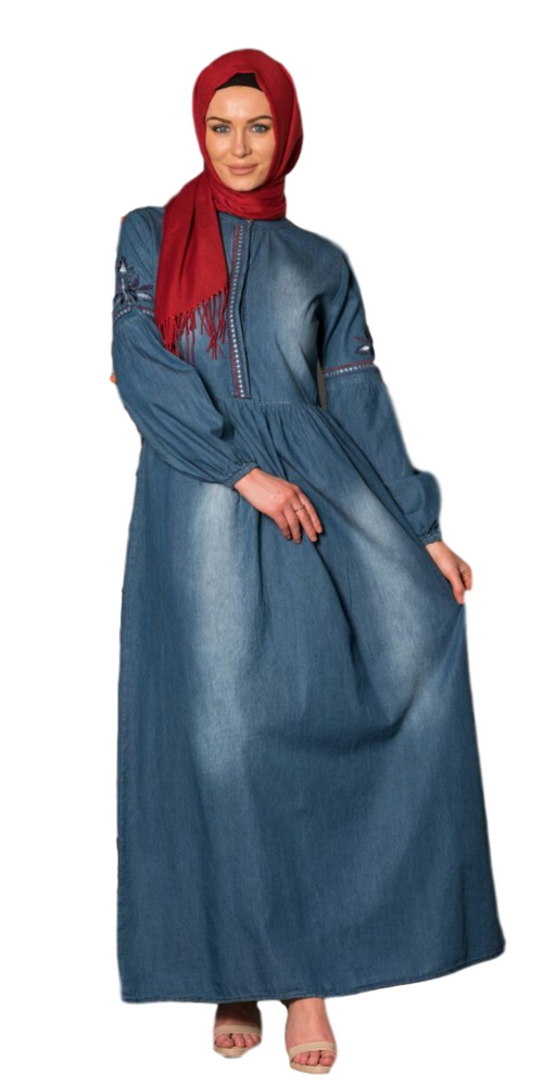 Women's Blue Denim Long Maxi Dress - Code 3629