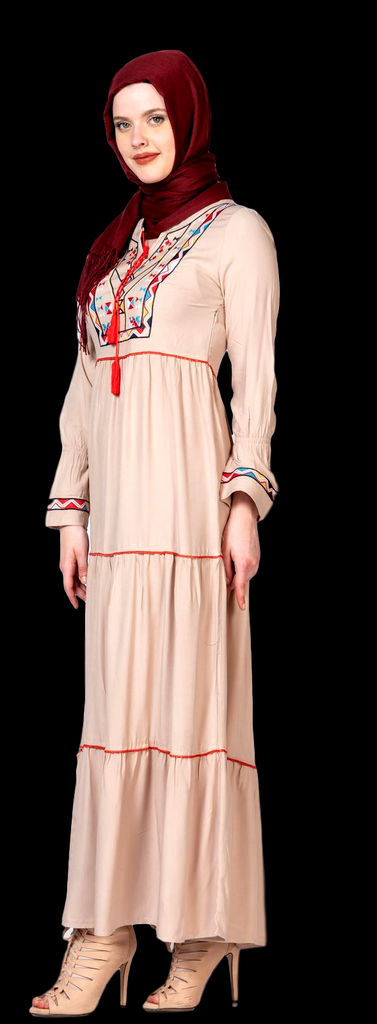 Women's Beige Denim Long Maxi Dress - Code 075