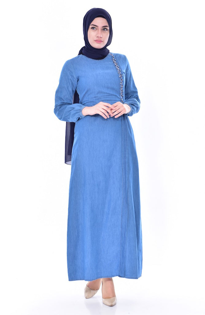 Women's Blue Denim Long Maxi Dress - Code 3652