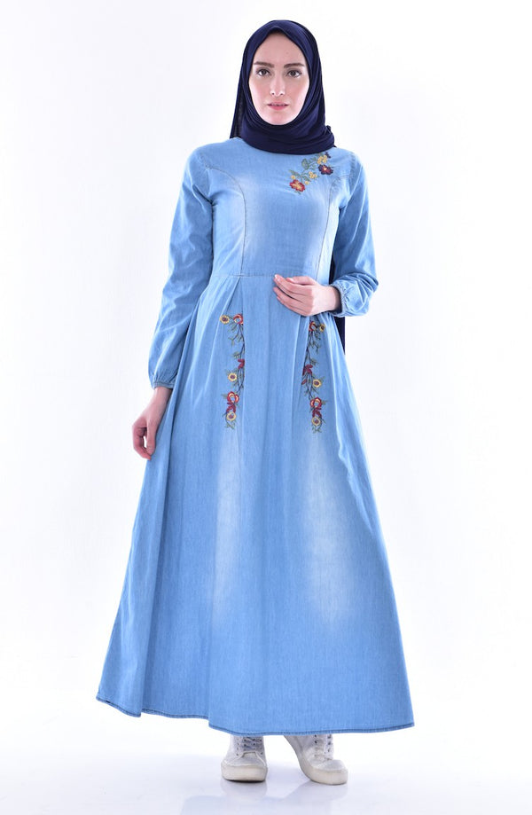 Women's Blue Denim Long Maxi Dress - Code 3085/3615