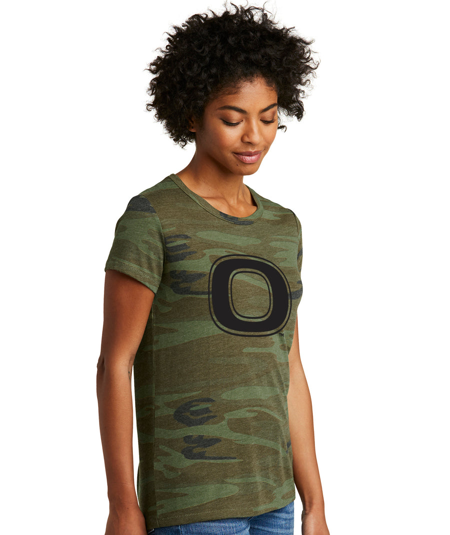 Okoboji Camo Womens  Fitted Tee