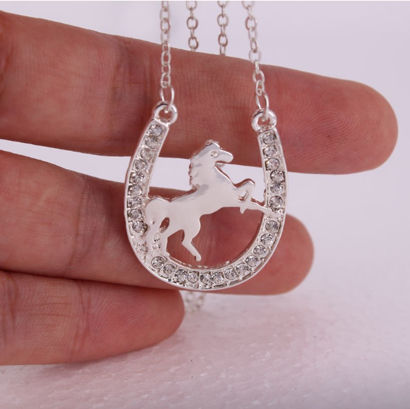 HORSE SILVER STUDDED NECKLACE