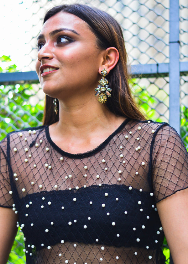 Champagne & Black Spider Drop Earring