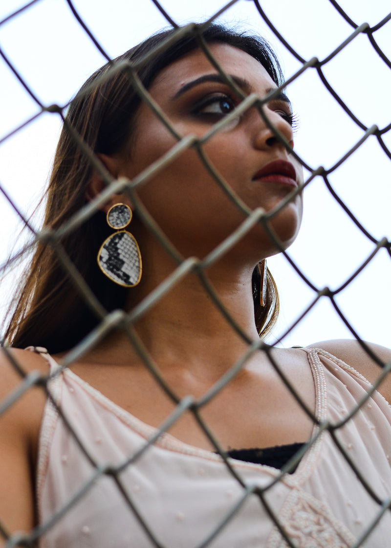 Leather Geometric Earring