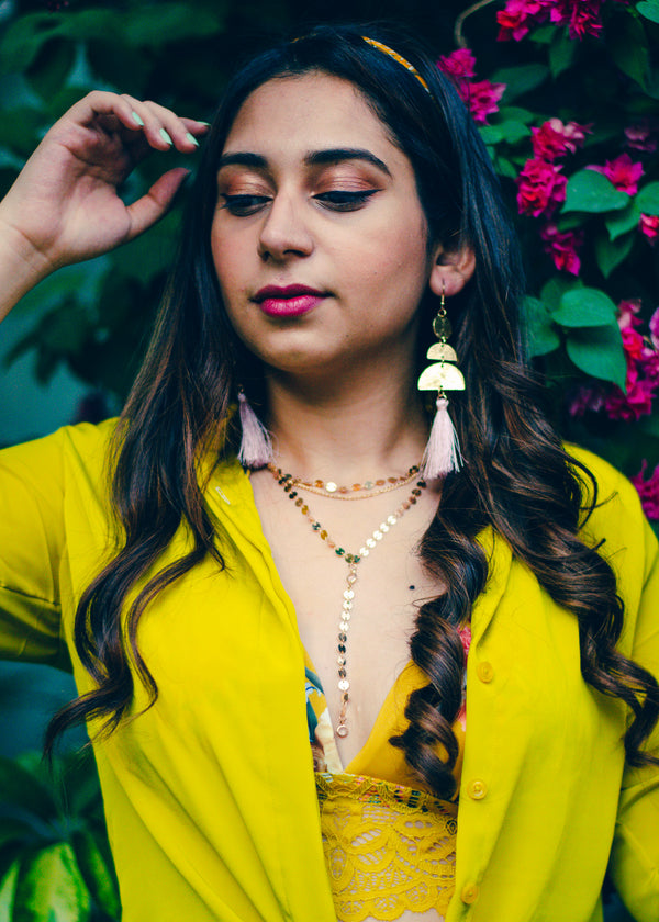 Pink & Gold Tassel Earrings