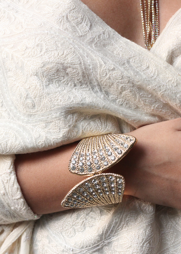 Gold Plated, Crystal Embellished Wrist Cuff