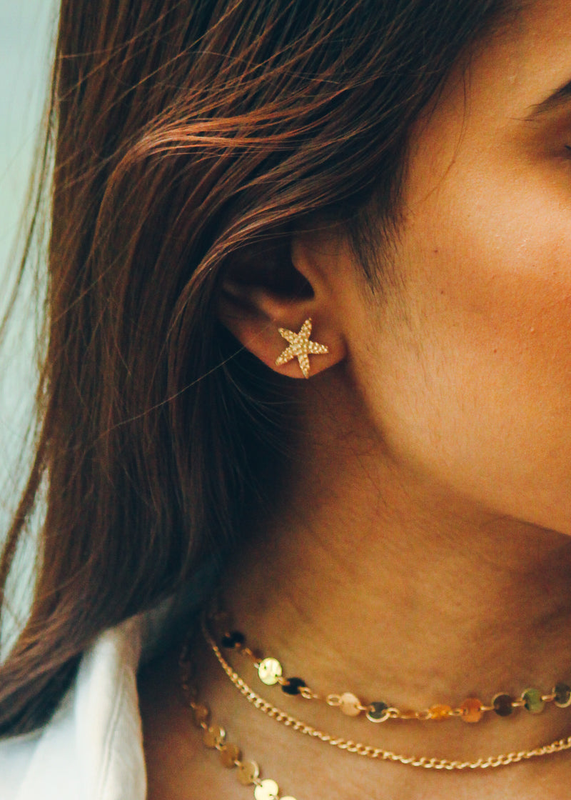 GOLD STARFISH STUDS