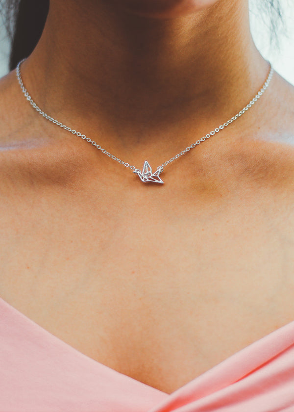 Geometric Swan Charm Necklace
