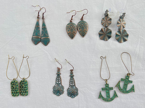 Bundle of Six - Antique Metal Alloy Earrings