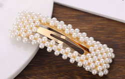 Rectangular Pearl And Gold Clips