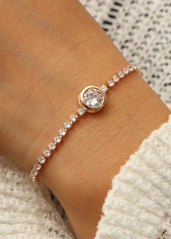 Round Adjustable Tennis Crystal Bracelet