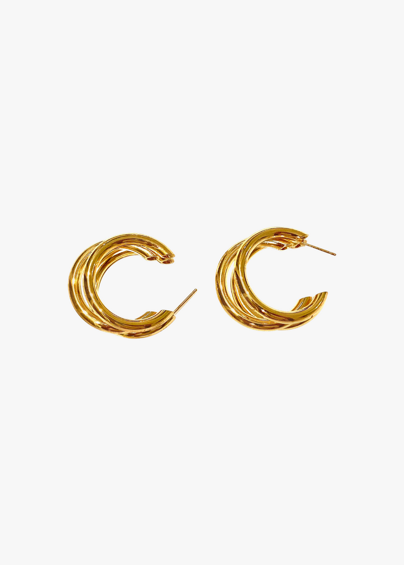 3 Loop Gold Earrings