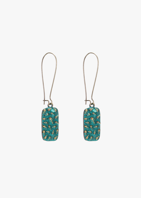 ANTIQUE GREEN ALLOY SKULL EARRINGS