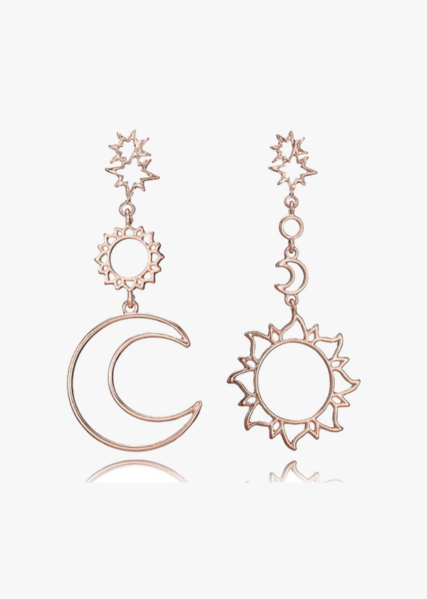 BOHEMIAN SUN-MOON LONG EARRINGS