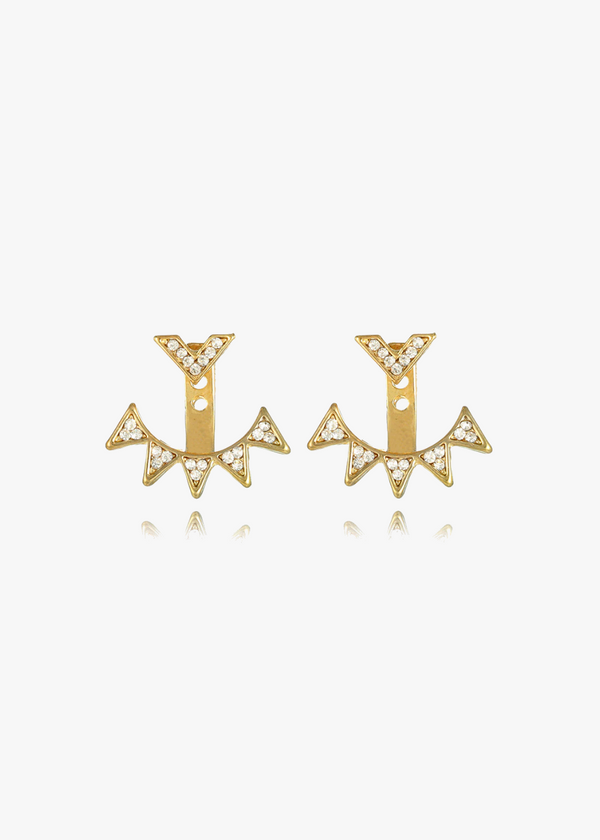 Gold & Crystal Ear Jacket Studs