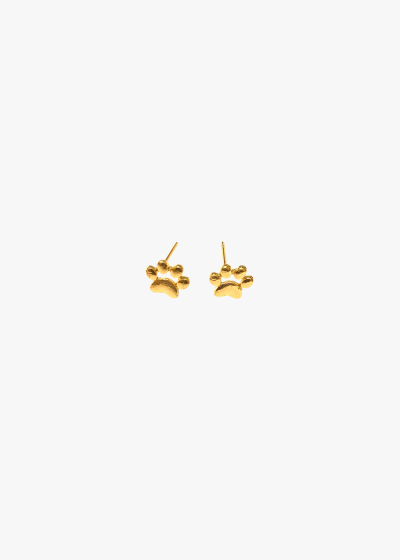 Gold Dog Paw Studs