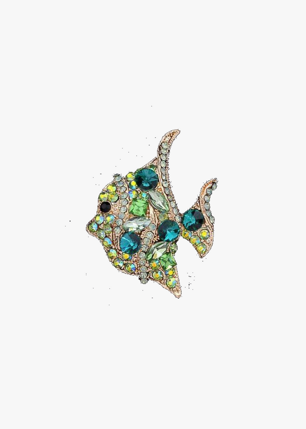 Green Rhinestone Goldfish Brooch