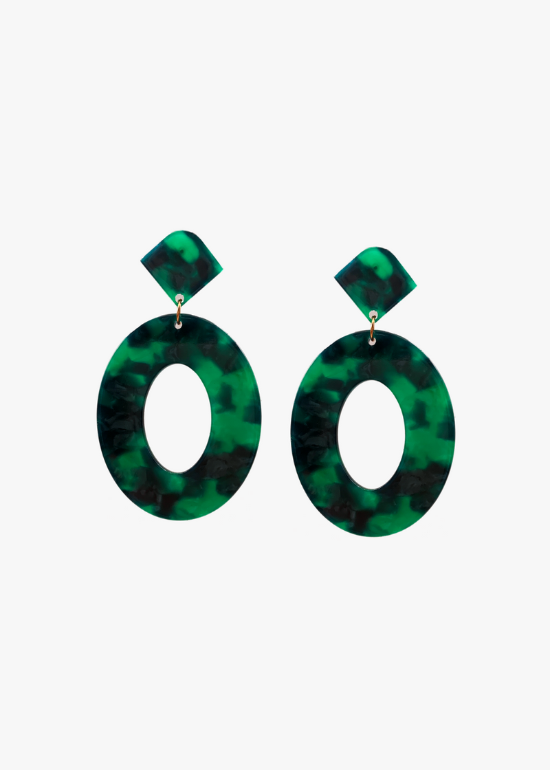 Green Shaded Oval Earrings