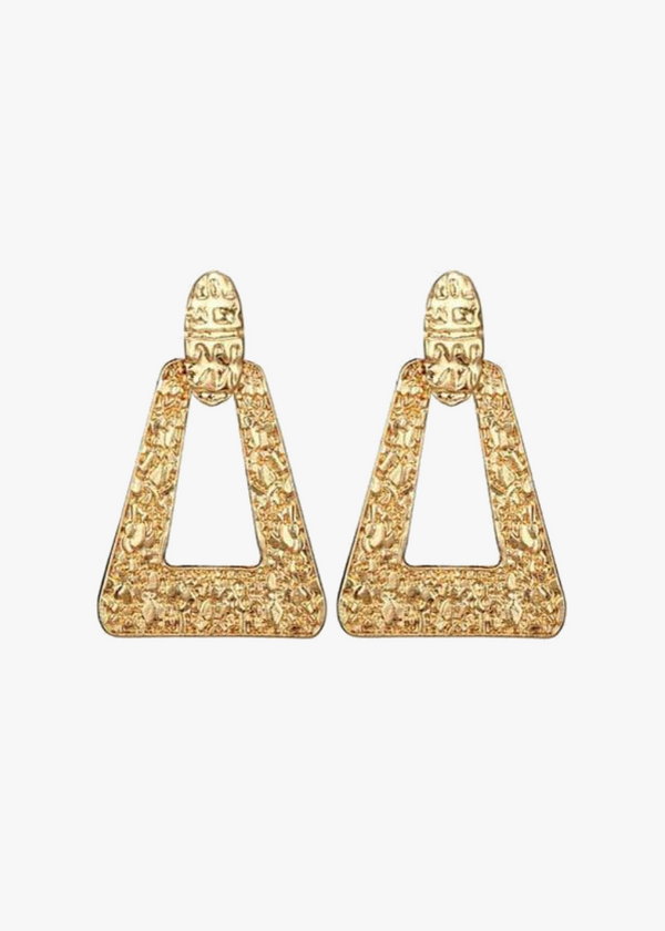 Heritage Engraved Gold Drop Earrings