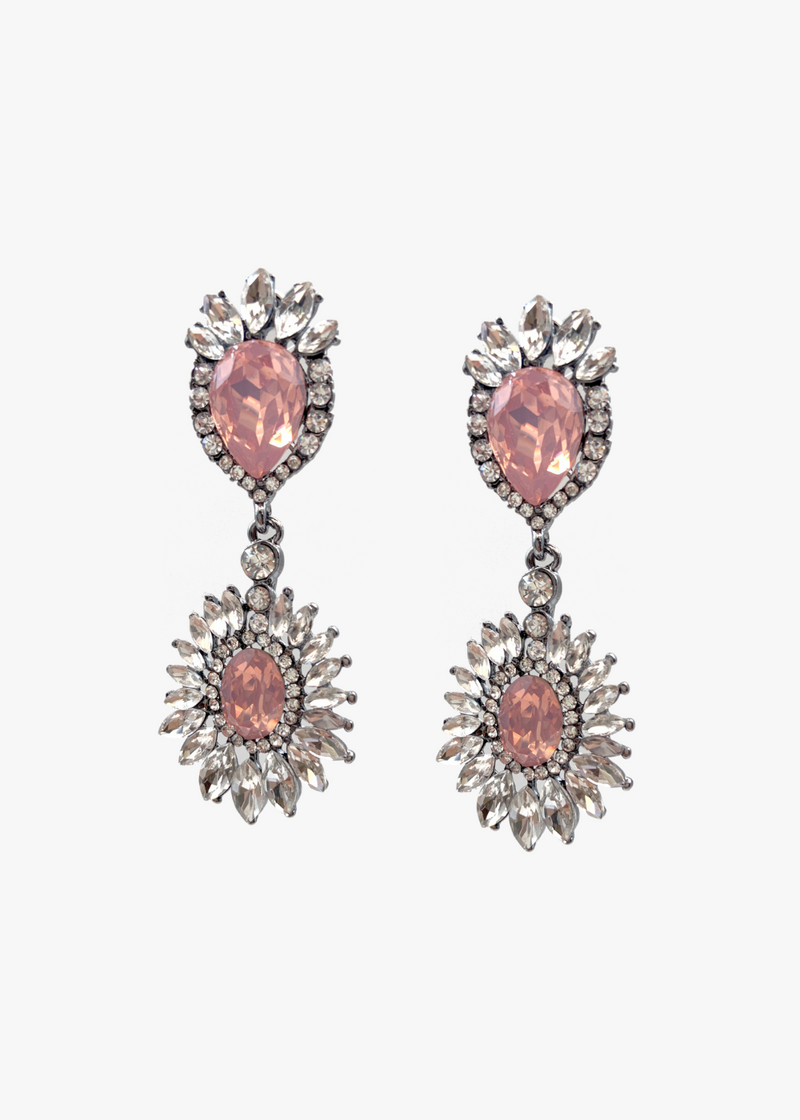 Pink Glam Rhinestone Long Earrings
