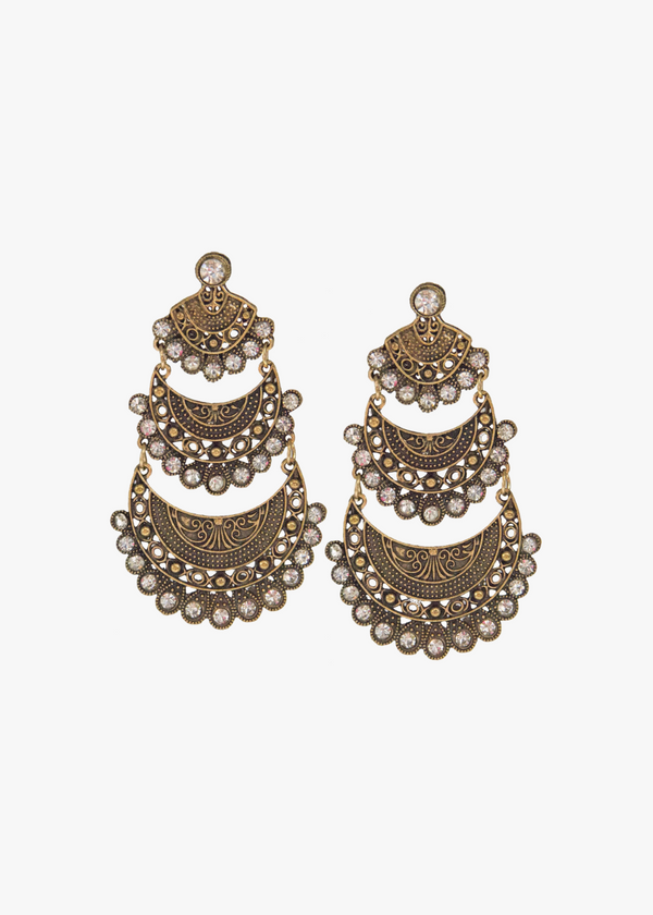 RUSTIC GOLD RHINESTONES LONG EARRINGS