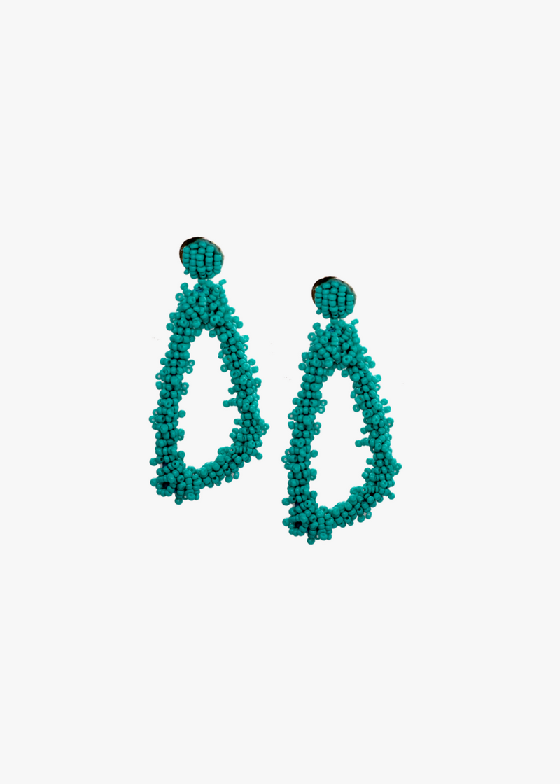 Aqua Beaded Triangular Earring