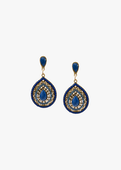 BLUE RHINESTONE & BEADS EARRINGS