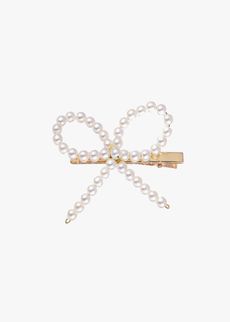 Bow Pearl And Gold Clips