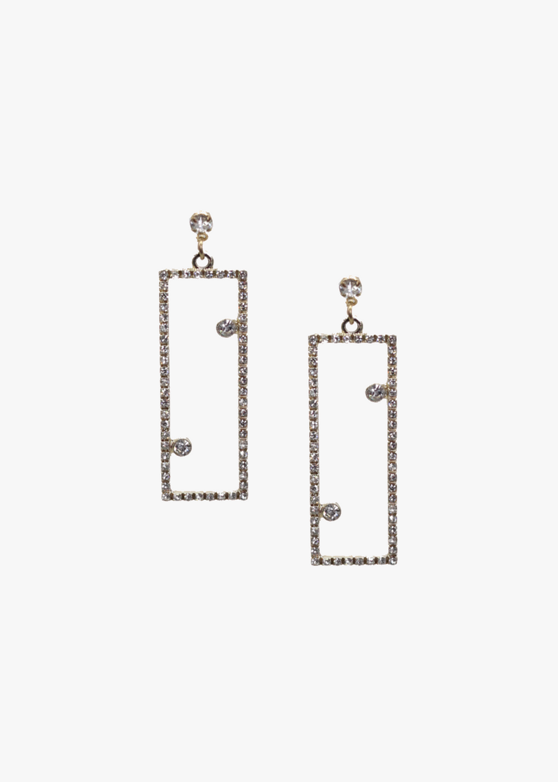 Glitter Rectangular Earrings