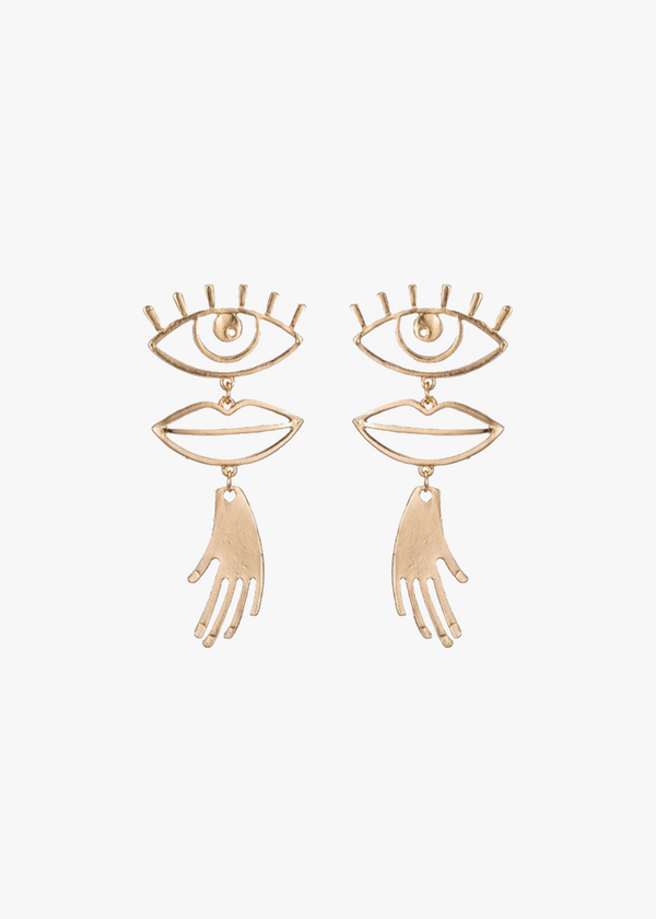 GOLD ABSTRACT FACE EARRINGS: Marcel Duchamp