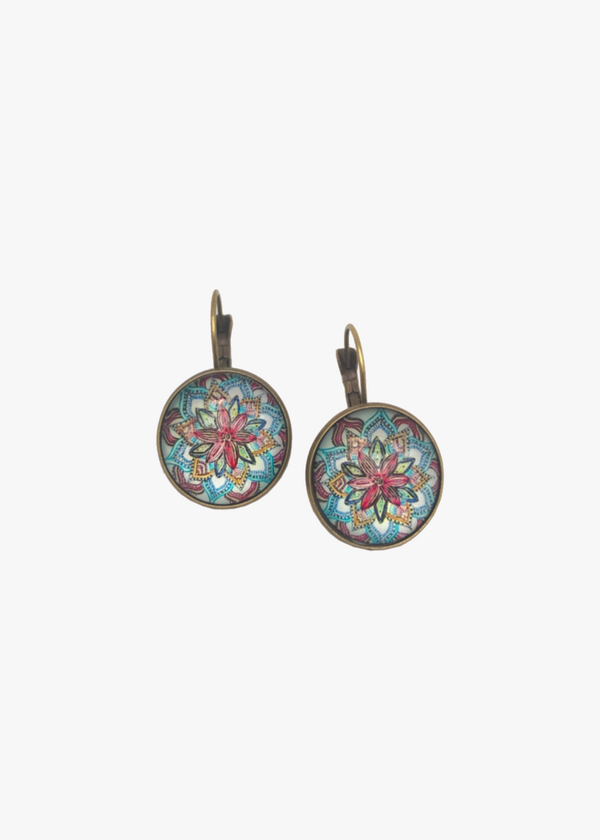 Mandala Inspired Flower Earrings
