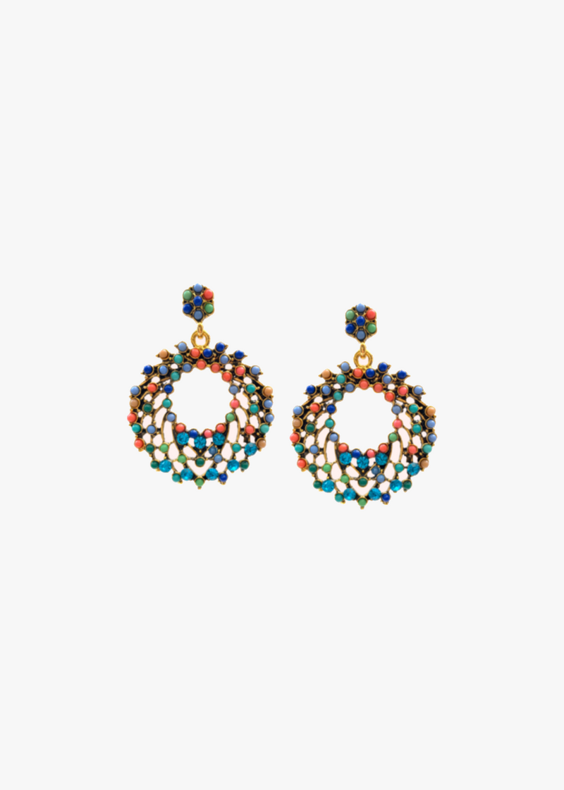 Multi-Colored Rhinestone Bead Earrings