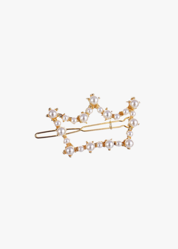 Tiara Pearl and Gold Clips