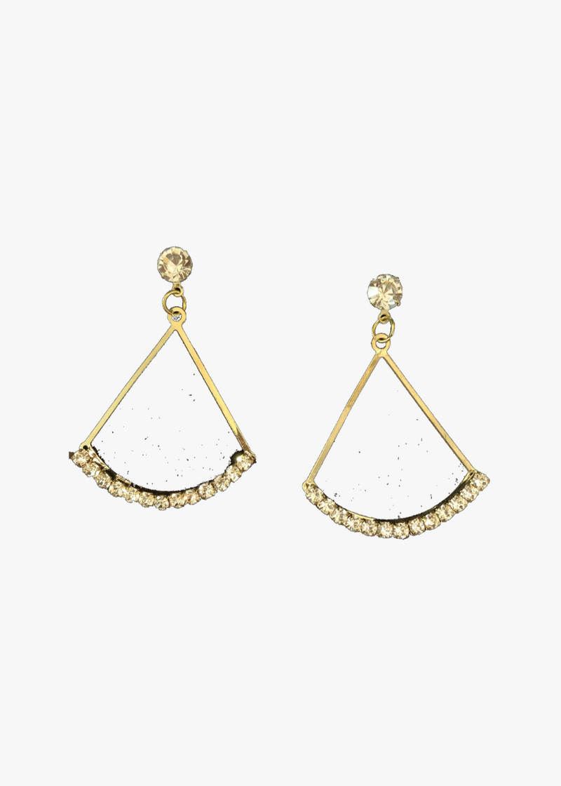 Triangular Gold And Crystal Earrings