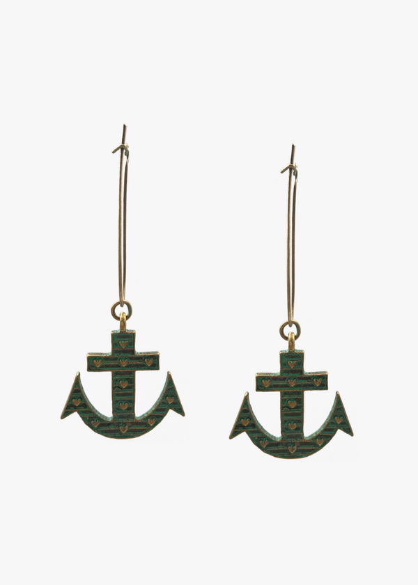 VINTAGE ANCHOR EARRINGS