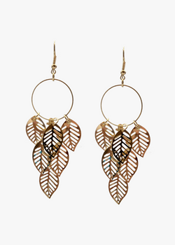 Gold Plated Dangle Leaf Earrings
