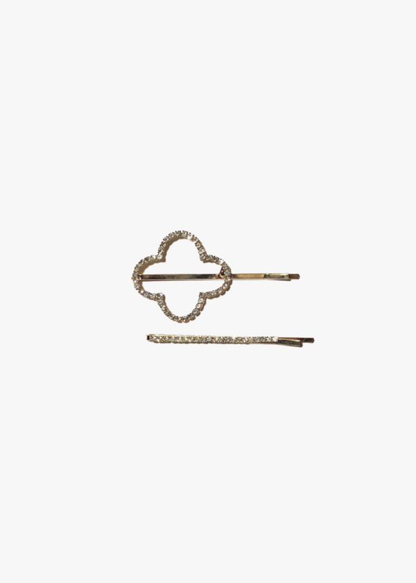 Quatrefoil Shape Hair Pins - Silver