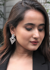 Intricate Silver And Blue Earrings